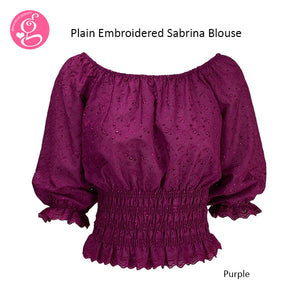 Plain Embroidered Eyelet Sabrina Blouse