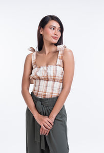 Linen Gingham Tie Up Blouse