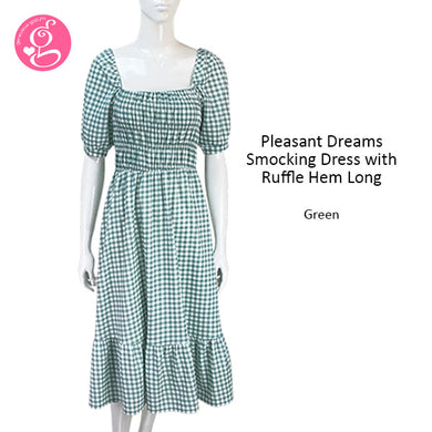 Pleasant Dreams Smocking Long Dress w/ Ruffle Hem Gingham