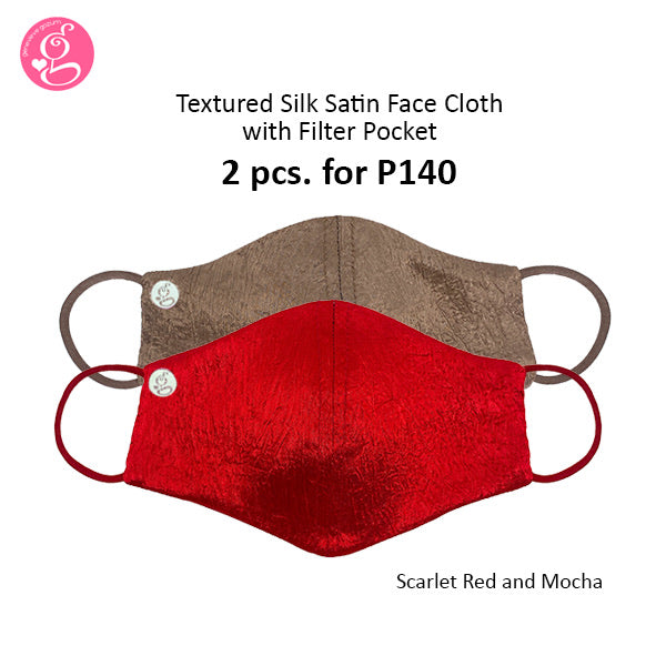 Textured Silk Satin with filter pocket 2 pcs for P150