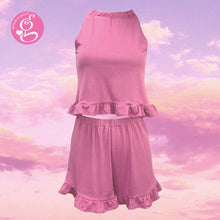 Comfy Chic Ruffled Halter Top and Shorts set with Loungewear Cotton Fabric