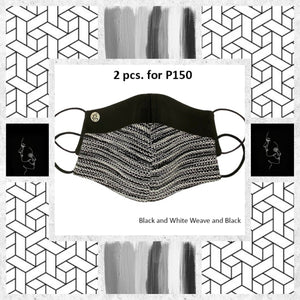 BUNDLE Black and White Weave and Classic Black Plain with filter pocket (2 pcs for P150)