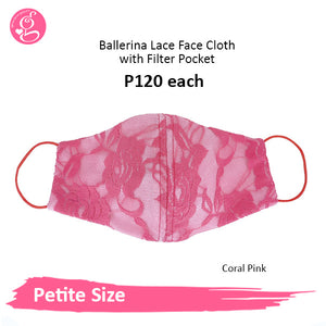 Ballerina Lace 3 layers Petite Face Cloth with filter pocket (petite size)