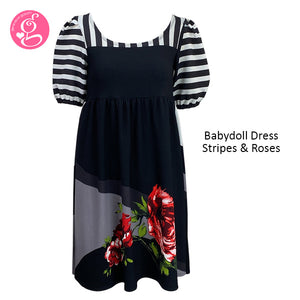 Baby Doll Dress Stripes and Roses Print