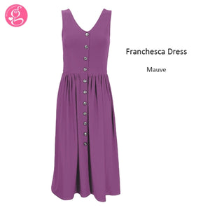 Franchesca Cotton Stretchy Button Down Dress (2 styles to choose from)