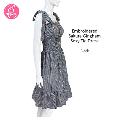 Checkered Embroidered Sakura Sexy Tie Shoulder Dress