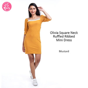 Olivia Square Neck Ruffle Ribbed Dress or Blouse (price separately)