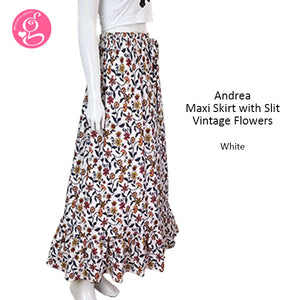 Andrea Maxi Skirt With Slit Vintage Flowers
