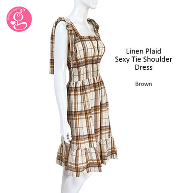 Linen Gingham Sexy Tie Shoulder  Dress
