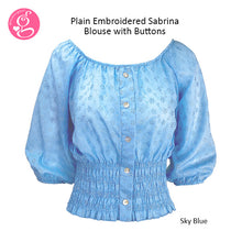 Plain Embroidered Eyelet Sabrina Blouse (with front buttons)