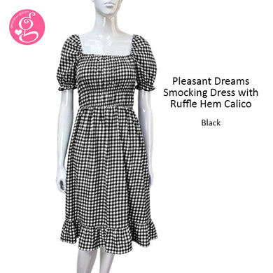 Pleasant Dreams Smocking Dress w/ Ruffle Hem Gingham (knee length)