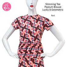 Lucky 8 Geometric Printed Flare Leggings & Slimming Peplum Blouse (sold separately)