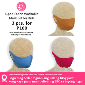 Unisex K-Pop Style Fabric Face Mask Washable & Reusable - For Adults & Kids