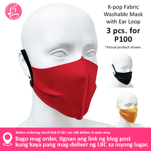 K-Pop Washable Fabric Face Cloth for Adults - 3 pcs for P100