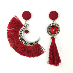 Sun & Moon Tassel Earrings