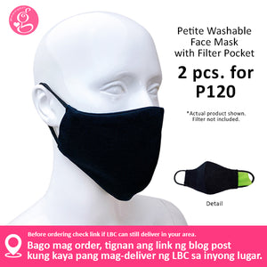 Petite Face, Young Adult - Washable Filter Pocket Face Cloth - Unisex, Washable, Breathable - 2 for P120