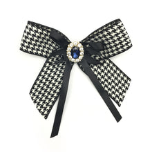Vintage Houndstooth Brooch Bow