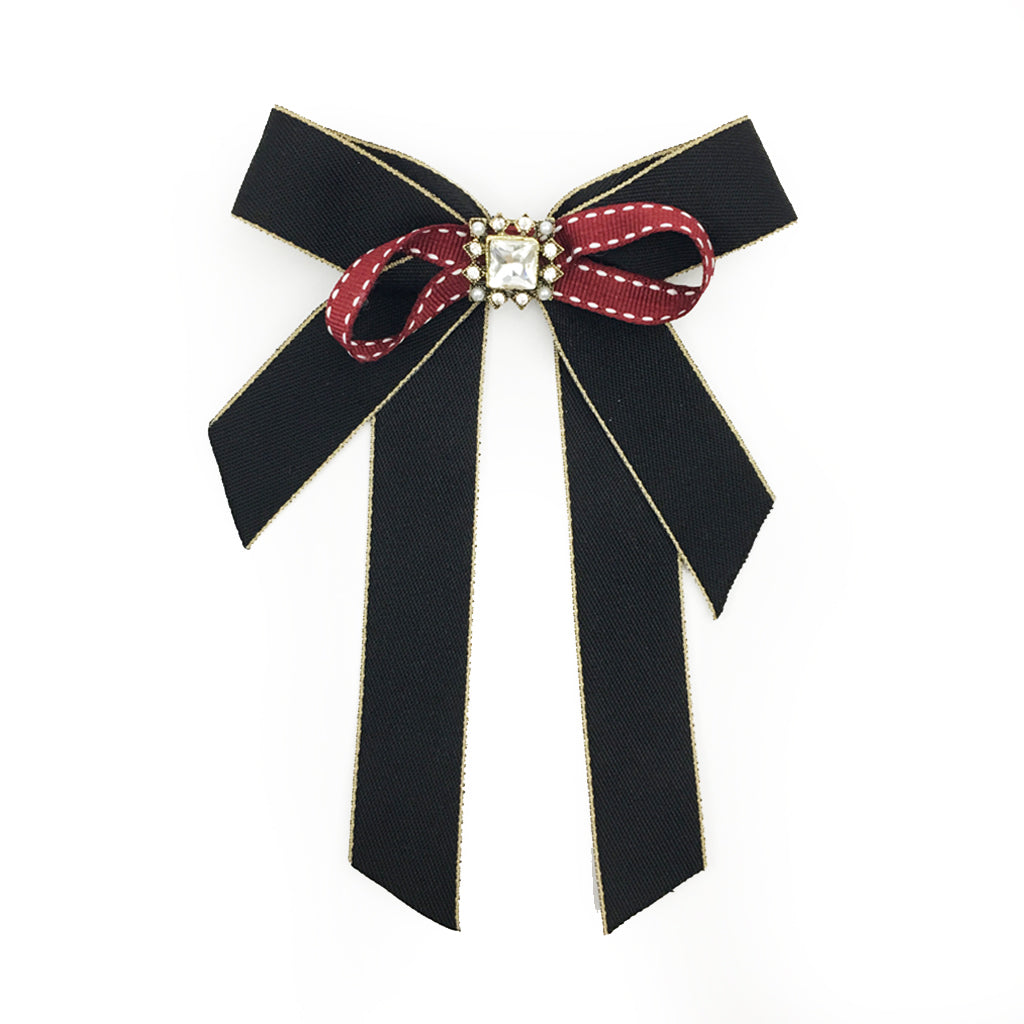 Vintage Brooch Bow Black