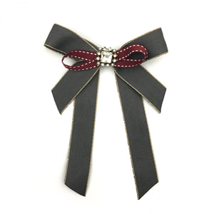 Vintage Brooch Bow Dark Gray