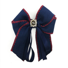 Vintage Brooch Bow Navy Blue With Crystal