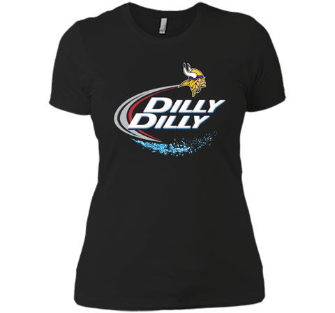 Vikings Dilly Dilly T-Shirt Minnesota Vikings NFL Football Gift Fans Black / Small Next Level Ladies Boyfriend Tee - PresentTees