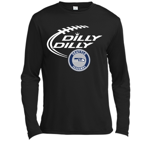 DILLY DILLY Seatle Seahawk shirt Black / Small LS Moisture Absorbing Shirt - PresentTees