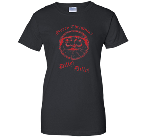 Merry Christmas Dilly Dilly Fun Santa Holiday T Shirt Black / Small Ladies Custom - PresentTees