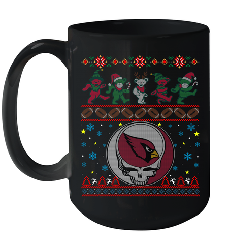 Arizona Cardinals Christmas Grateful Dead Jingle Bears Football Ugly Sweatshirt Mug 15oz Mug 15oz / Black / 15oz Mug 15oz - PresentTees