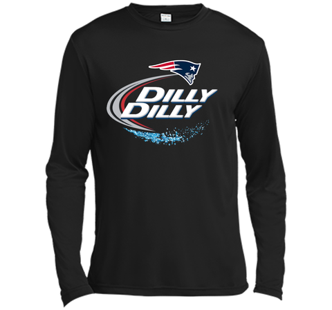 New England Patriots Dilly Dilly T-Shirt NFL Football Gift Fans Black / Small LS Moisture Absorbing Shirt - PresentTees