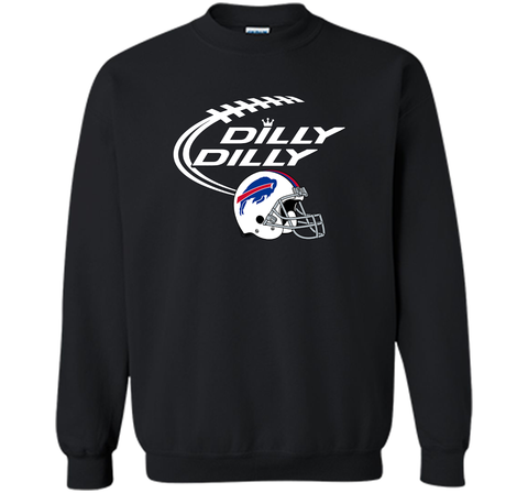 DILLY DILLY Buffalo Bills NFL Team Logo Black / Small Crewneck Pullover Sweatshirt 8 oz - PresentTees