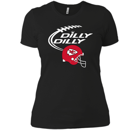 DILLY DILLY Kansas City Chiefs NFL Team Logo Black / Small Next Level Ladies Boyfriend Tee - PresentTees