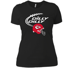 DILLY DILLY Kansas City Chiefs NFL Team Logo Next Level Ladies Boyfriend Tee - PresentTees