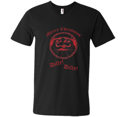 Merry Christmas Dilly Dilly Fun Santa Holiday T Shirt Black / Small Men Printed V-Neck Tee - PresentTees