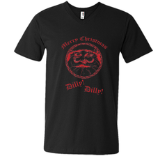 Merry Christmas Dilly Dilly Fun Santa Holiday T Shirt Men Printed V-Neck Tee - PresentTees