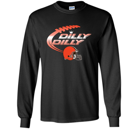 Cleveland Browns Dilly Dilly Bud Light T-Shirt NFL Football for Fans Black / Small LS Ultra Cotton TShirt - PresentTees