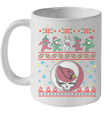 Arizona Cardinals Christmas Grateful Dead Jingle Bears Football Ugly Sweatshirt Mug 11oz Mug 11oz - PresentTees