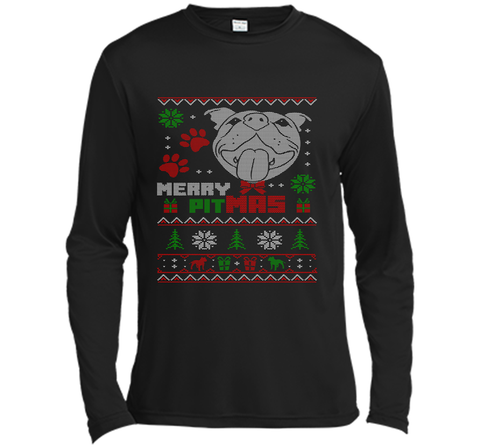 Merry Pitmas Christmas Sweater Design Gift for Pit Lovers T-Shirt Black / Small LS Moisture Absorbing Shirt - PresentTees
