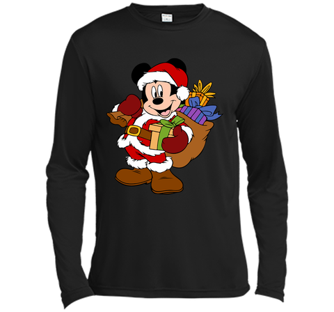 Disney Santa Mickey Mouse Christmas gifts Black / Small LS Moisture Absorbing Shirt - PresentTees