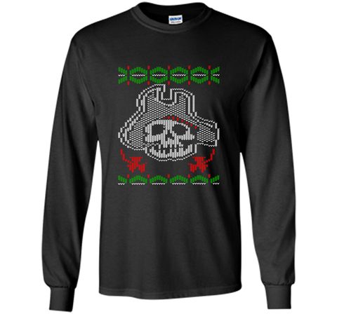 Pirate Christmas Ugly Sweater T-Shirt Black / Small LS Ultra Cotton TShirt - PresentTees