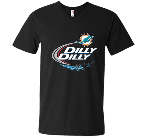 Miami Dolphins MIA Dilly Dilly Bud Light T Shirt MIA NFL Football Shirts Gift for Fans Black / Small Men Printed V-Neck Tee - PresentTees