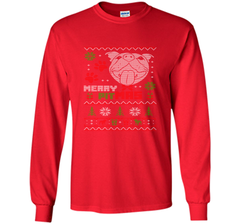 Merry Pitmas Christmas Sweater Design Gift for Pit Lovers T-Shirt LS Ultra Cotton TShirt - PresentTees