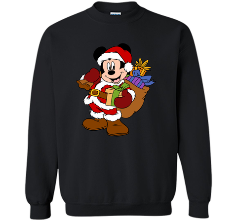 Disney Santa Mickey Mouse Christmas gifts Black / Small Crewneck Pullover Sweatshirt 8 oz - PresentTees