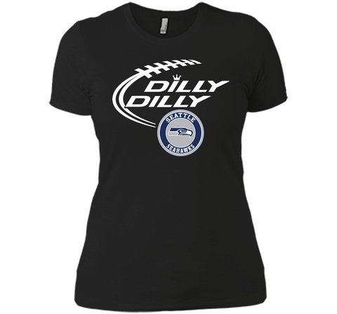 DILLY DILLY Seatle Seahawk shirt Black / Small Next Level Ladies Boyfriend Tee - PresentTees