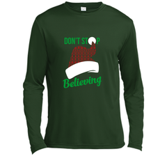 Don't Stop Believing Ugly Christmas Sweater Shirt LS Moisture Absorbing Shirt - PresentTees