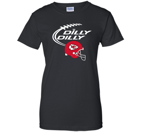 DILLY DILLY Kansas City Chiefs NFL Team Logo Black / Small Ladies Custom - PresentTees