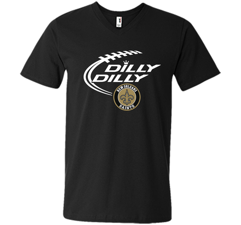 DILLY DILLY  New Orleans Saints shirt Black / Small Men Printed V-Neck Tee - PresentTees