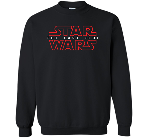 Star Wars Last Jedi Red Outline Logo Graphic Black / Small Crewneck Pullover Sweatshirt 8 oz - PresentTees