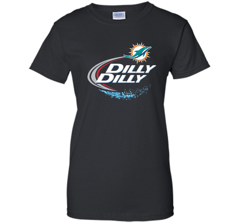 Miami Dolphins MIA Dilly Dilly Bud Light T Shirt MIA NFL Football Shirts Gift for Fans Black / Small Ladies Custom - PresentTees