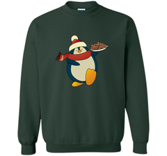 Penguin With Christmas Cookies Funny T-Shirt Crewneck Pullover Sweatshirt 8 oz - PresentTees