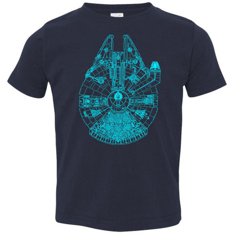 Star Wars Blue Millennium Falcon Toddler Jersey T-Shirt Navy / 2T Toddler Jersey T-Shirt - PresentTees